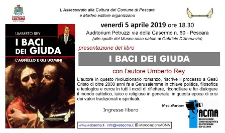 Pescara: 5 aprile 2019: presentazione del libroi baci dei giudadi umberto rey.