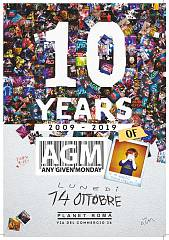 Any given monday compie 10 anni, lunedi' 14 la festa al planet club