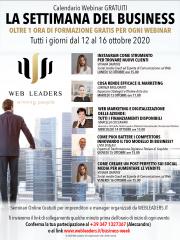 La settimana del business dal 12 al 16 ottobre - webinar gratuiti riguardo il web marketin